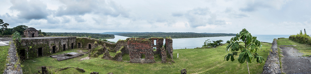 Panoramic view of Fort San Lorenzo and the Chagres river in Panama.