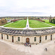 A panorama taken from one of the upper balconies of the Chateau de Chambord in the Loire Valley in France. The chateau dates to the 16th century, and when war broke out in 1939, the collections of the Louvre were relocated here for protection.