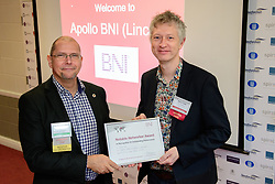 BNI Apollo (Lincoln)'s chapter president Simon Meadows (Sterling Business Coaching), left, presents Shaun Cole (Born Agency) with a notable networker certificate.  Shaun was awarded notable networker for recognition of passing the most referrals in December 2017.  BNI Apollo meets at Lincoln City Football Club on Thursday mornings - 9.15am - 11am.<br /> <br /> Picture: Chris Vaughan Photography<br /> Date: January 11, 2018