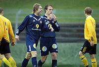 Fotball, 13. mai 2003, NM fotball herrer, Strømsgodset-Bærum, Kim Larsen, Strømsgodset og Paal Christian Alsaker, Strømsgodset