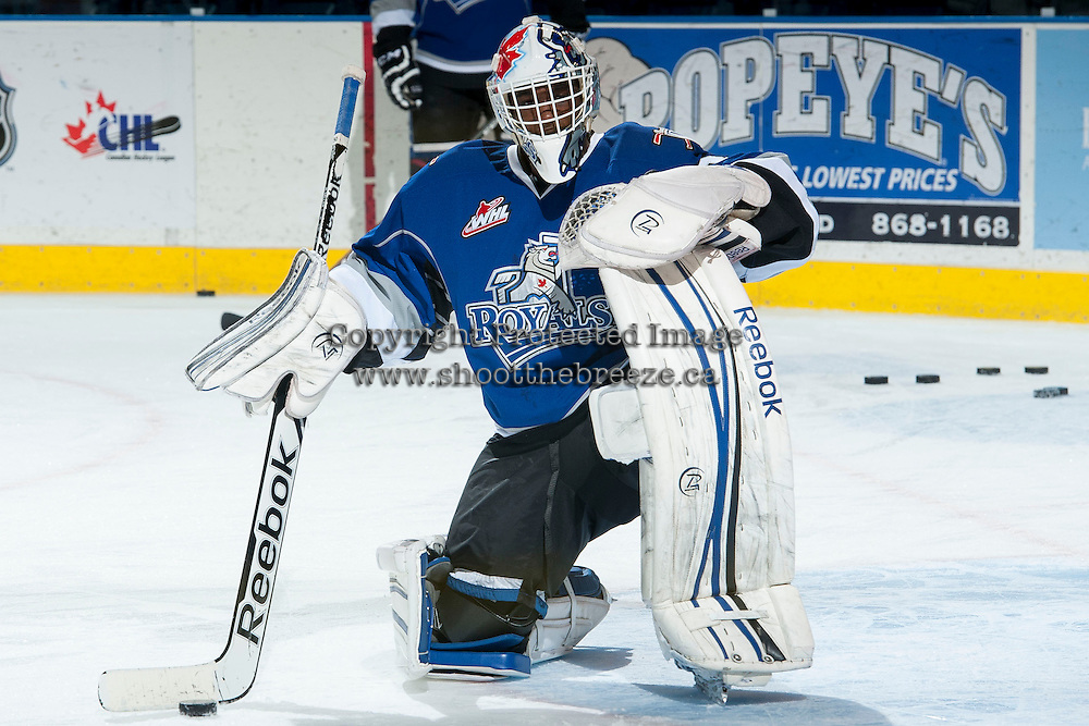 KELOWNA, CANADA -FEBRUARY 8: Michael Herringer #30 of the Victoria Royals warms up against the Kelowna Rocketson February 8, 2014 at Prospera Place in Kelowna, British Columbia, Canada.   (Photo by Marissa Baecker/Getty Images)  *** Local Caption *** Michael Herringer;