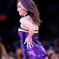 10 April 2014: Laker Girl Shelbie performs during the Los Angeles Lakers 106-98 victory over the Minnesota Timberwolves, at the Staples Center, Los Angeles, California, USA.