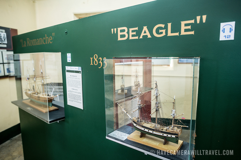 A scale model of the Beagle. The ship undertook exploration expeditions in the region, one of which involved Charles Darwin's famous visit to the Galapagas Islands. The ship also gives its name to the Beagle Channel that connect Ushuaia with the Great Southern Ocean and Antarctica.