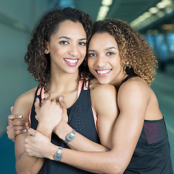 Mcc0075468.DT Sport. Lee Valley Sports Centre.Pic Shows GB athletics twin sisters Laviai (left and darker hair) and Lina (right and lighter hair) Nielsen. <br /> for a Ben Bloom interview