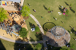 Stock photo of an aerial view of the Mist Tree fountain and playground