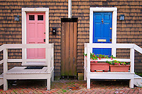 House doors on Fleet Street,Historic Downtown Annapolis Maryland MD USA