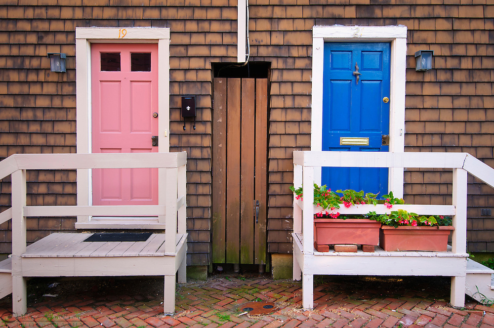 House doors on Fleet Street,Historic Downtown Annapolis Maryland MD USA