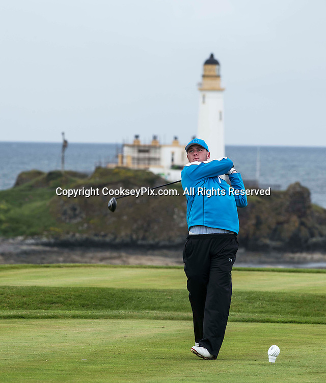 Picture by Christian Cooksey/CookseyPix.com. Free First Use. Fathers Day Golf at Trump Turnberry with The Herald.<br /> <br /> Pictured teeing off on the Kintyre course with the famous lighthouse behind him is Eric Drummond Jr from Saltcoats