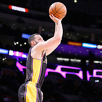 28 February 2014: Los Angeles Lakers point guard Jordan Farmar (1) takes a three point shot during the Los Angeles Lakers 126-122 victory over the Sacramento Kings at the Staples Center, Los Angeles, California, USA.