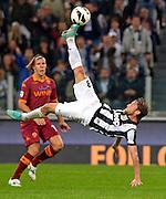 © Filippo Alfero<br /> Juventus vs Roma - Serie A 2012 / 2013<br /> Torino, 29/09/2012<br /> sport calcio<br /> Nella foto: Claudio Marchisio rovesciata