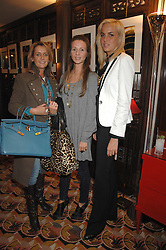 Left to right, SAM PEMBERTON, AMANDA CROSSLEY and LADY LOUISA COMPTON at an exhibition of photographs by Olivia Buckingham held at China Tang, The Dorchester, Park Lane London on 5th March 2007.<br />
