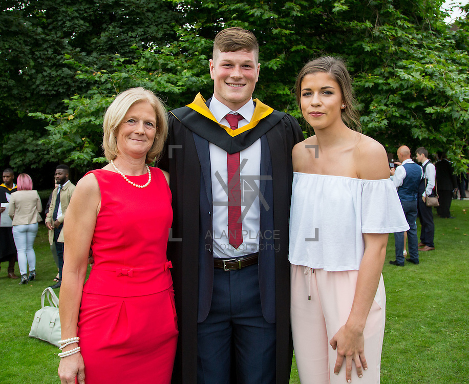 24.08.2016        <br /> Over 300 students graduated from the Faculty of Science and Engineering at the University of Limerick today. <br /> <br /> Munster rugby player Jack O'Donoghue, Woodstown Co. Waterford was conferred with a Bachelor of Science in Pharmaceutical and Industrial Chemistry at the conferring ceremony. Jack is pictured with his mother, Caroline O'Donoghue and girlfriend, Olwen Kennedy, Dublin.Picture: Alan Place.<br /> <br /> As the University of Limerick commences four days of conferring ceremonies which will see 2568 students graduate, including 50 PhD graduates, UL President, Professor Don Barry highlighted the continued demand for UL graduates by employers; &ldquo;Traditionally UL's Graduate Employment figures trend well above the national average. Despite the challenging environment, UL's graduate employment rate for 2015 primary degree-holders is now 14% higher than the HEA&rsquo;s most recently-available national average figure which is 58% for 2014&rdquo;. The survey of UL&rsquo;s 2015 graduates showed that 92% are either employed or pursuing further study.&rdquo; Picture: Alan Place