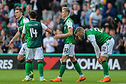 Oli Shaw (#32) of Hibernian celebrates Hibernian's third goal (3-0) with Stevie Mallan (#14) of Hibernian during the Europa League match between Hibernian and NSÍ Runavik at Easter Road, Edinburgh, Scotland on 12 July 2018. Picture by Craig Doyle.