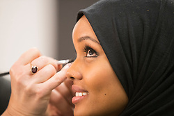 Halima Aden has her makeup done for the Miss Minnesota USA pageant on Nov. 26, 2016 in Burnsville, MN, USA. Photo by Leila Navidi/Minneapolis Star Tribune/TNS/ABACAPRESS.COM
