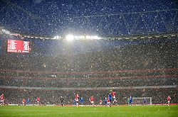 LONDON, ENGLAND - Saturday, January 9, 2010: A snow blizzard during Arsenal's 2-2 Premiership draw with Everton at the Emirates Stadium. (Photo by David Rawcliffe/Propaganda)