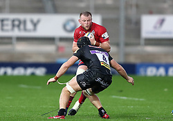 Joe Batley of Bristol United takes on Ed Holmes of Exeter Braves  - Mandatory by-line: Gary Day/JMP - 09/09/2017 - RUGBY - Sandy Park Stadium - Exeter, England - Exeter Braves v Bristol United - Aviva A League
