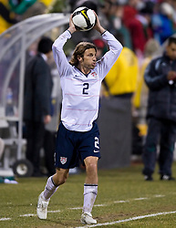 United States defender Frankie Hejduk (2) on a throw in.  The United States men's soccer team defeated the Mexican national team 2-0 in CONCACAF final group qualifying for the 2010 World Cup at Columbus Crew Stadium in Columbus, Ohio on February 11, 2009.