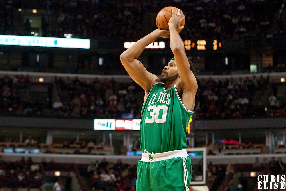 12 December 2009: Boston Celtics center Rasheed Wallace goes for a jumpshot during the Boston Celtics 106-80 win over the Chicago Bulls at the United Center, in Chicago, Illinois, USA.
