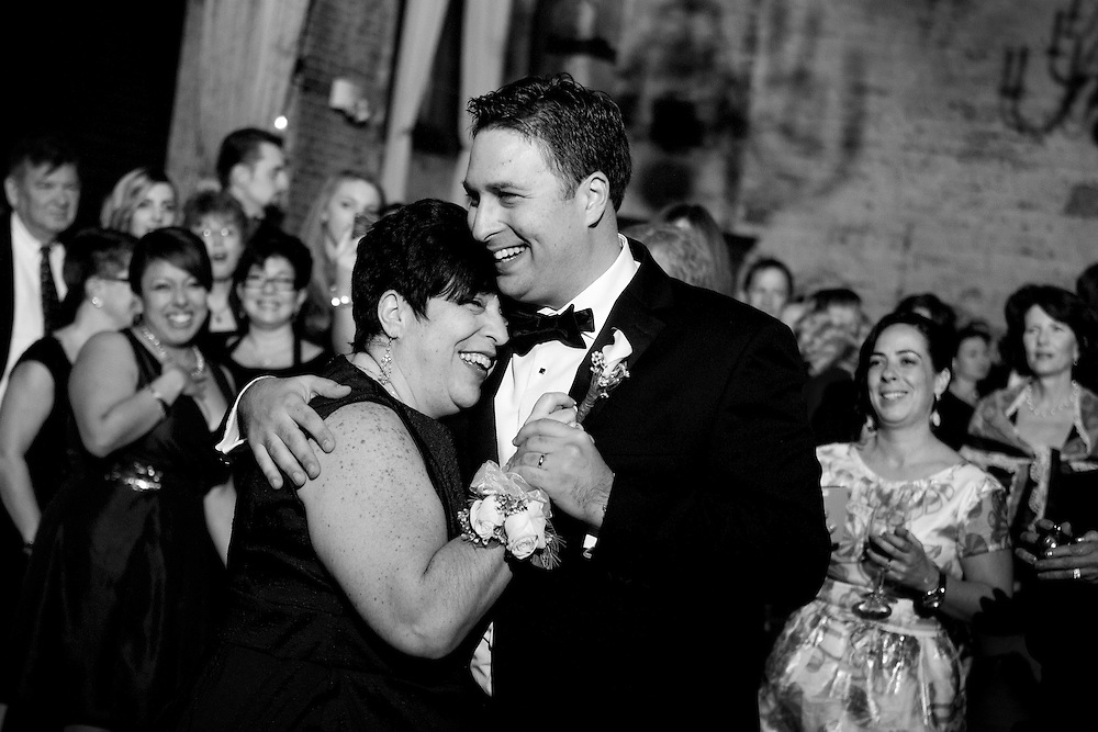 The mother-son dance at Joe's wedding at the Green Building in Brooklyn, New York.