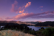 Sunset over San Pablo Reservoir and Briones Regional Park, near Orinda, Contra Costa County, CALIFORNIA