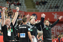 Players of Germany celebrates during handball match between National teams of Germany and Czech Republic on Day 2 in Main Round of Men's EHF EURO 2018, on January 19, 2018 in Arena Varazdin, Varazdin, Croatia. Photo by Mario Horvat / Sportida