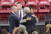 South Carolina Governor Nikki Haley embraces Charleston Mayor Joe Riley during the funeral service for slain State Senator Clementa Pinckney at the TD Arena June 24, 2015 in Charleston, South Carolina. Pinckney is one of the nine people killed in last weeks Charleston church massacre.