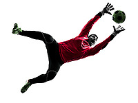 one  soccer player goalkeeper man catching ball in silhouette isolated white background