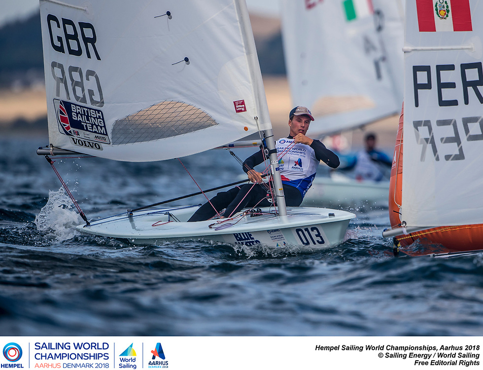 Aarhus, Denmark is hosting the 2018 Hempel Sailing World Championships from 30 July to 12 August 2018. More than 1,400 sailors from 85 nations are racing across ten Olympic sailing disciplines as well as Men's and Women's Kiteboarding. <br /> 40% of Tokyo 2020 Olympic Sailing Competition places will be awarded in Aarhus as well as 12 World Championship medals. ©JESUS RENEDO/SAILING ENERGY/AARHUS 2018<br /> 08 August, 2018.