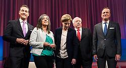 05.10.2015, Sofiensäle, Wien, AUT, ORF-Puls4 TV-Konfrontation, Elefantenrunde zur Wien-Wahl 2015, im Bild die Spitzenkandidaten v.l.n.r. Heinz-Christian Strache (FPÖ), Maria Vassilakou (Grünen),  Beate Meinl-Reisinger (NEOS), Michael Häupl (SPÖ) und Manfred Juraczka (SPÖ) // before Television confrontation beetwen Topcandidates for viennese state elcetion at Sofiensäle in Vienna, Austria on 2015/10/05, EXPA Pictures © 2015, PhotoCredit: EXPA/ Michael Gruber