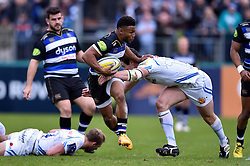 Kyle Eastmond of Bath Rugby is tackled - Mandatory byline: Patrick Khachfe/JMP - 07966 386802 - 17/10/2015 - RUGBY UNION - The Recreation Ground - Bath, England - Bath Rugby v Exeter Chiefs - Aviva Premiership.