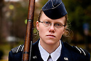 Air Force Cadet Third Class, Kelly Myers, marches in memory of U.S. POWs and MIAs in front of the new Baker Center on Veteran's Day in Athens, Ohio on Sunday, Nov. 11, 2007. Myers is 19 and a Sophomore at Ohio University. (Ohio University /CHAD BARTLETT)