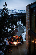 Richard Landry, fourth from left, relaxes with family and friends on the deck of his self-designed Mammoth Lakes, CA vacation home, January 9, 2010.