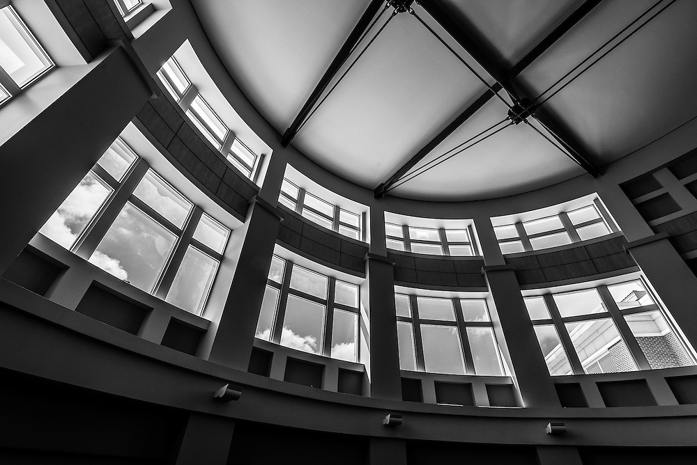 Wide angle abstract composition of the atrium in the Pop Martin Student Union on the campus of UNCC in Charlotte, NC