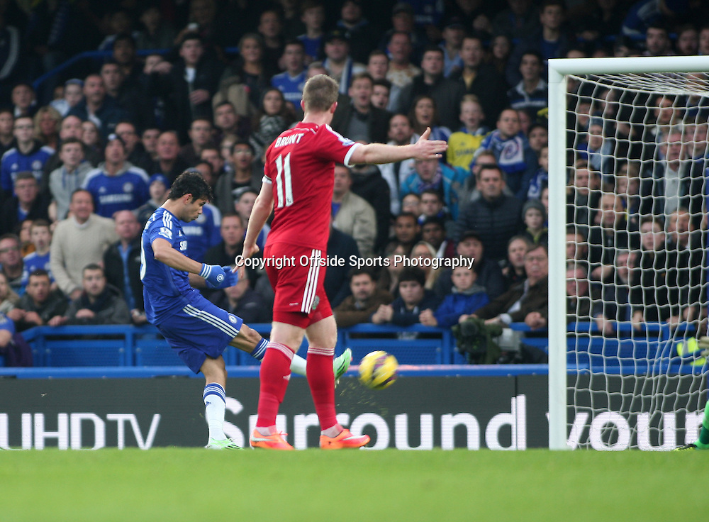 22 November 2014 - Barclays Premier League - Chelsea v West Bromwich Albion - Diego Costa of Chelsea gives them the lead.<br /> <br /> <br /> Photo: Ryan Smyth/Offside