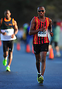 CAPE TOWN, SOUTH AFRICA - OCTOBER 10: Lebogang Shange of CGA in the mens 20km during the South African Race Walking Championship at Youngsfield Military Base on October 10, 2015 in Cape Town, South Africa. (Photo by Roger Sedres/ImageSA)