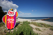 """Nybrostrand. Ice cream ad..On this beach, Wallander shoots Rykoff in """"The White Lioness"""", and in """"One Step Behind"""", the newly-weds and their photographer are murdered amongst the sand dunes close to Nybrostrand's Camping on the same beach."""