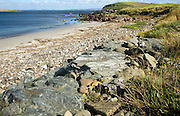 Rocks and sandy beach, Melby, near Sandness, Mainland, Shetland Islands, Scotland