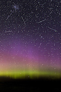 Satellites passing over the Aurora Australis.  This is a composite photo of several visible satellites shortly after dusk, from 6:41pm to 6:46pm on June 7, 2013.  Southland, New Zealand.