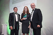 From Left, Larry Starr, Kelly Baylog and Ron Teplitzky pose after Baylog was awarded the Charles J and Claire O. Ping Recent Graduate Award during the 2016 Alumni Awards Gala at Ohio University's Baker Center Ballroom on Friday, October 07, 2016.