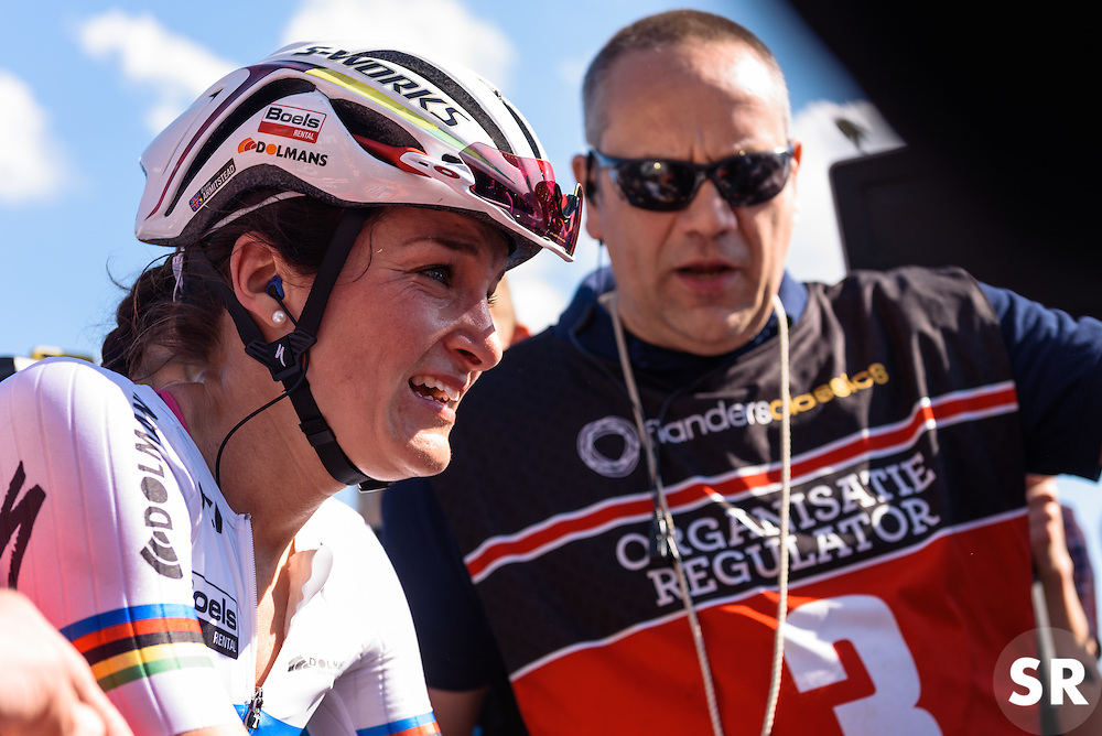 Lizzie Armitstead catches her breathe as the win sinks in - Women's Ronde van Vlaanderen 2016. A 141km road race starting and finishing in Oudenaarde, Belgium on April 3rd 2016.