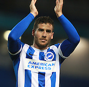 Match-winner Brighton striker Tomer Hemed applauds the fans at the final whistle during the Sky Bet Championship match between Brighton and Hove Albion and Charlton Athletic at the American Express Community Stadium, Brighton and Hove, England on 5 December 2015. Photo by Bennett Dean.