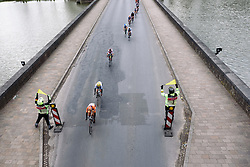 Lead group weaves across the moat into Ieper - Women's Gent Wevelgem 2016, a 115km UCI Women's WorldTour road race from Ieper to Wevelgem, on March 27th, 2016 in Flanders, Belgium.