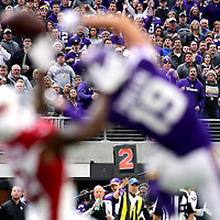 MINNEAPOLIS, MN - NOVEMBER 20: Fans look on as Adam Thielen #19 of the Minnesota Vikings misses a contested ball in the second quarter of the game agains the Arizona Cardinals on November 20, 2016 at US Bank Stadium in Minneapolis, Minnesota. (Photo by Adam Bettcher/Getty Images)