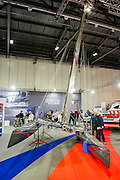 The Ben Ainslie Racing stand. The CWM FX London Boat Show, taking place 09-18 January 2015 at the ExCel Centre, Docklands, London. 09 Jan 2015.