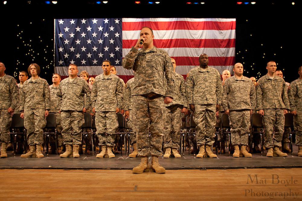 119th Combat Sustainment Support Battalion deployment ceremony  at Rowan University in Glassboro, NJ on Saturday December 18, 2010. (photo / Mat Boyle).