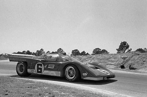 Sebring 12-Hour race 1971, Penske Ferrari 6 at hairpin; Photo by Pete Lyons 1971/ © 2014 Pete Lyons / petelyons.com