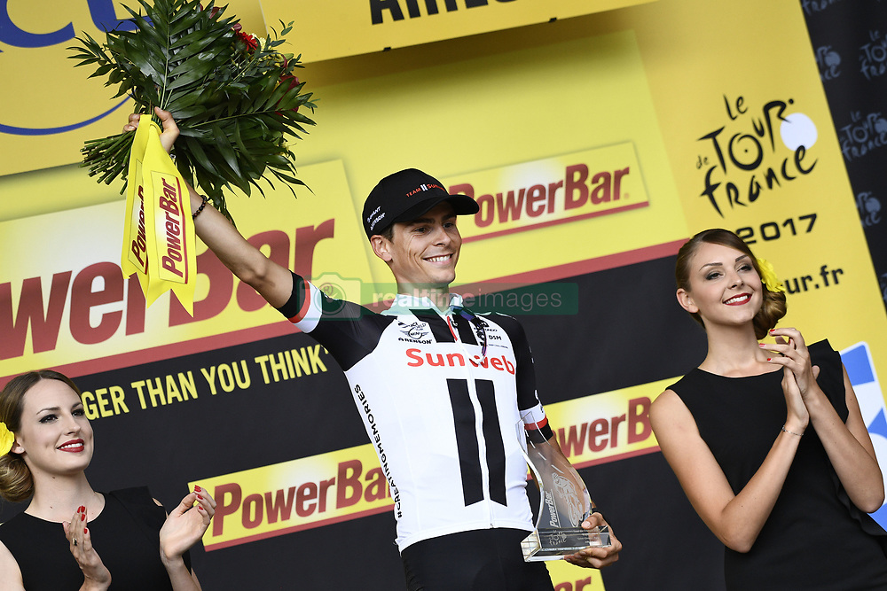 July 14, 2017 - Foix, FRANCE - French Warren Barguil of Team Sunweb celebrates on the podium after winning the 13th stage of the 104th edition of the Tour de France cycling race, 101km from Saint-Girons to Foix, France, Friday 14 July 2017. This year's Tour de France takes place from July first to July 23rd. BELGA PHOTO YORICK JANSENS (Credit Image: © Yorick Jansens/Belga via ZUMA Press)