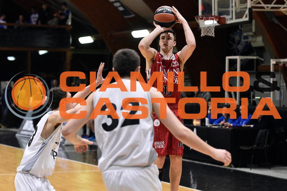 DESCRIZIONE : Roma Adidas Next Generation Tournament 2015 Armani Junior Milano Unipol Banca Bologna<br /> GIOCATORE : Tommaso Balasso<br /> CATEGORIA : tiro three points<br /> SQUADRA : Armani Junior Milano<br /> EVENTO : Adidas Next Generation Tournament 2015<br /> GARA : Armani Junior Milano Unipol Banca Bologna<br /> DATA : 29/12/2015<br /> SPORT : Pallacanestro<br /> AUTORE : Agenzia Ciamillo-Castoria/GiulioCiamillo<br /> Galleria : Adidas Next Generation Tournament 2015<br /> Fotonotizia : Roma Adidas Next Generation Tournament 2015 Armani Junior Milano Unipol Banca Bologna<br /> Predefinita :