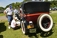 Old Westbury, New York, U.S. - June 1, 2014 - Winner of the Best in Show for Post War is a one-of-a-kind 1926 Stutz, owned by STEVEN GITTELMAN of HUNTINGTON, at the Antique and Collectible Auto Show held on the historic grounds of elegant Old Westbury Gardens in Long Island, and sponsored by Greater New York Region AACA Antique Automobile Club of America. The unique custom car was built for Grace and General Cornelius Vanderbilt III, and is the only known one with a Victoria Top.