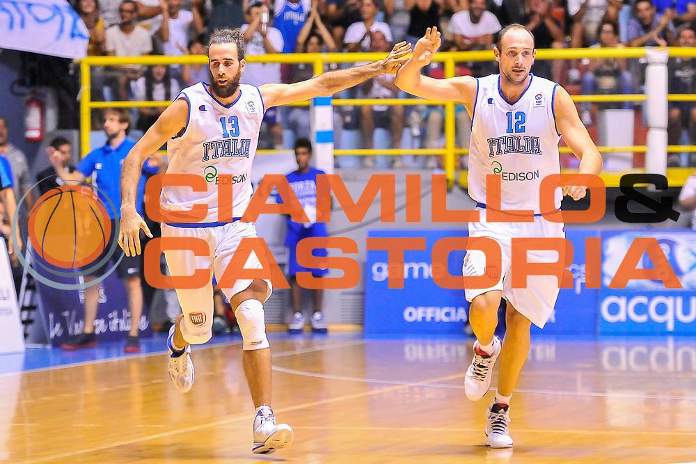 DESCRIZIONE : Cagliari Qualificazione Eurobasket 2015 Qualifying Round Eurobasket 2015 Italia Russia - Italy Russia<br /> GIOCATORE : Luigi Datome Marco Cusin<br /> CATEGORIA : Fair Play Esultanza<br /> EVENTO : Cagliari Qualificazione Eurobasket 2015 Qualifying Round Eurobasket 2015 Italia Russia - Italy Russia<br /> GARA : Italia Russia - Italy Russia<br /> DATA : 24/08/2014<br /> SPORT : Pallacanestro<br /> AUTORE : Agenzia Ciamillo-Castoria/ Luigi Canu<br /> Galleria: Fip Nazionali 2014<br /> Fotonotizia: Cagliari Qualificazione Eurobasket 2015 Qualifying Round Eurobasket 2015 Italia Russia - Italy Russia<br /> Predefinita :